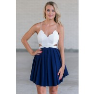 Cute White and Navy Juniors Dress Online, Navy Summer Party Dress