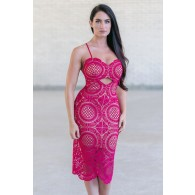 Raspberry Pink Purple Crochet Lace Midi Dress, Cute Boutique Dress