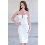 Ivory Cocktail Party Dress, Cute Juniors Ivory Dress Online