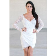 White Lace Cocktail Dress Online, Lace Juniors Party Dress