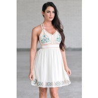 Cream Embroidered Summer Sundress