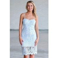 Sky blue lace pencil dress, blue cocktail party dress