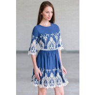 Blue and Ivory Embroidered Dress, Cute Fall Dress Online