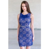 Blue Lace Sheath Dress, Cute Blue Cocktail Party Dress Online