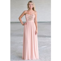 Blush pink and gold embroidered maxi dress, Cute formal dress