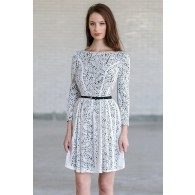 Ivory and Black Lace Belted Three Quarter Sleeve A-Line Designer Dress