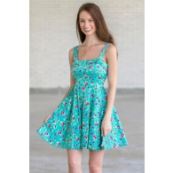 Cheerful Cranberries Teal Printed Fit and Flare Dress