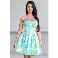 Garden Glamour Teal and Lime Floral Pattern Dress
