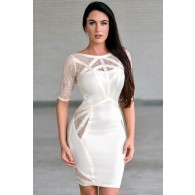 Beige Bandage Dress, Cute Fitted Cocktail Dress