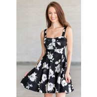 Black and White A-Line Floral Print Sundress