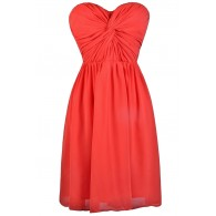 Cute tomato red strapless dress, red party dress
