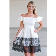 Black and White Lace Trim Party Dress, Cute A-Line Summer Dress