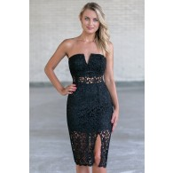 Black lace strapless midi dress, cute black cocktail dress