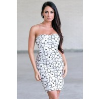 Cute black and white floral dress, summer dress for juniors