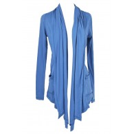 Cozy Up Open Longline Cardigan in Blue