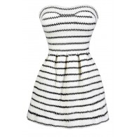 Cute Black and Ivory Stripe Dress, Black and Ivory A-Line Dress, Black and Ivory Stripe Dress, Cute Black and Off White Summer Dress, Black and Ivory Dress