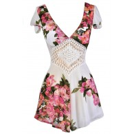 Pink and Ivory Floral Romper, Cute Summer Romper, Cute Floral Romper, Floral Print Summer Romper