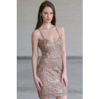Mocha Sequin Party Dress, Cute Cocktail Dress, Juniors Party Dress Online