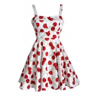 Cheerful Cherry Ivory Printed Fit and Flare Dress