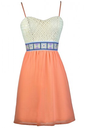 Coral and Beige Lace Dress, Cute Coral Dress, Cute Summer Dress, Coral Blue and Beige Dress, Coral A-Line Summer Dress, Coral Party Dress