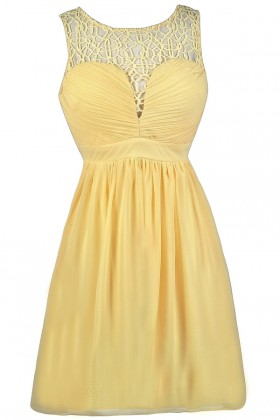 Yellow Party Dress, Yellow Cocktail Dress, Cute Yellow Dress, Yellow Sundress, Yellow Crochet Dress