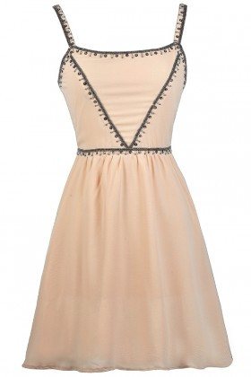 Beige Beaded Cocktail Party dress