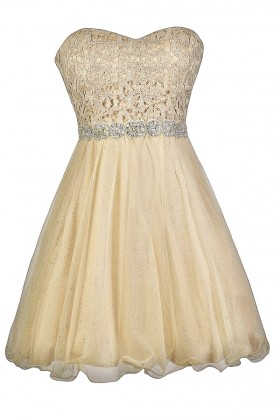 Gold Lace Embellished Holiday New Years Party Dress
