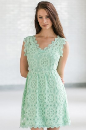 Fun and Fanciful Lace Dress in Mint Sage