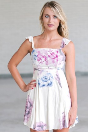 Cute Floral Print Sundress, Watercolor Print Dress, Cute Summer Dress Online