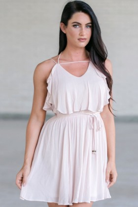 Blush Pink Summer Dress, Blush Party Dress, Cute Pink Dress