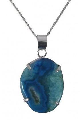 Silver and Turquoise Stone Pendant, Cute Jewelry, Silver Boho Necklace