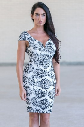 Black and White Lace Pencil Dress, Cute Lace Dress Online