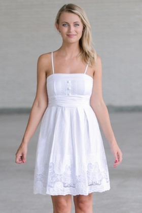 White A-Line Sundress, Cute Summer Dress, White Embroidered Dress