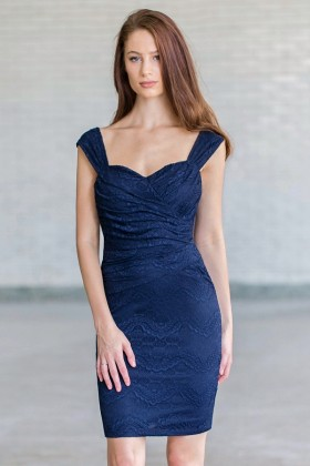 Navy Lace Pencil Dress, Cute Navy Juniors Cocktail dress