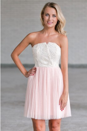 Pink Tulle Rosette Party Dress, Pink Bridesmaid Dress