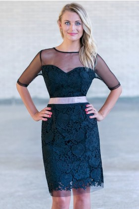 Black Lace Sheath Dress, Cute Black Lace Cocktail Dress