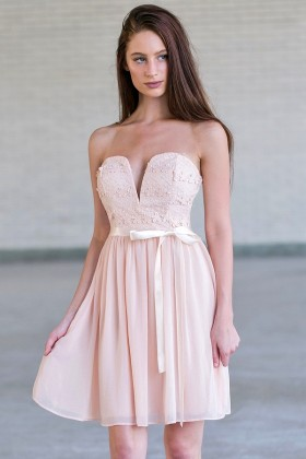 Blush Pink Strapless Lace and Chiffon Dress, Cute Pink Party Dress