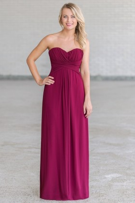 Plum Purple Maxi Bridesmaid Dress