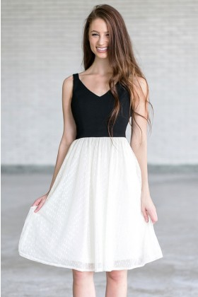 Bow With Me Black and Ivory A-Line Midi Dress