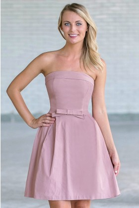 Can't Hardly Wait Strapless Bow Front Dress in Blush