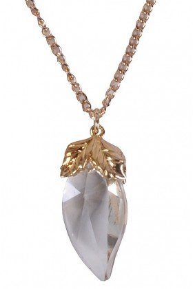 Gold and Crystal Pendant, Boho Necklace