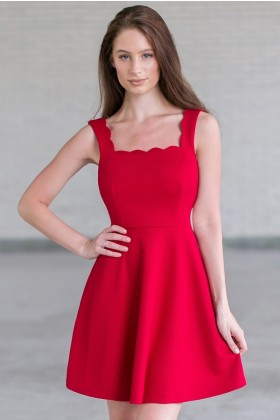Red Scalloped A-Line Party Dress, Cute Red Holiday Dress