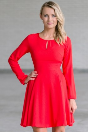 Cute Red Longsleeve Holiday Dress
