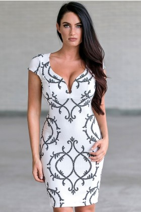 Black and White Fleur de Lis Pencil Dress, Cute White Printed Dress