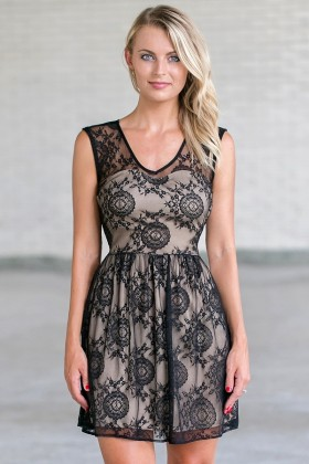 Black and Nude Lace A-Line Dress, Cute Black Party Dress