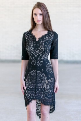 Cute Black High Low Eyelet Dress