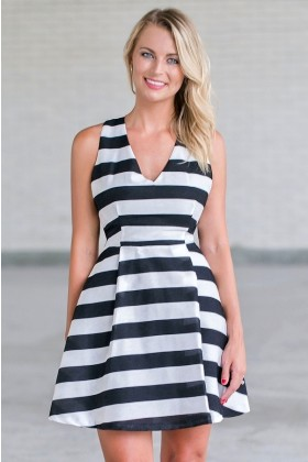 black and white stripe party dress, cute A-line dress