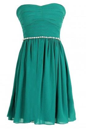 Green Pearl Embellished Bridesmaid Dress