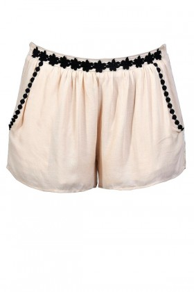Cute Beige Shorts, Beige and Black Shorts, Beige Embroidered Shorts