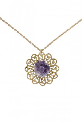 Purple and Gold Necklace, Purple and Gold Rough Stone Necklace, Amethyst and Gold Stone Necklace, Rough Stone Necklace
